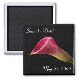 Calla Lily on Black, Save the Date! Square Magnet