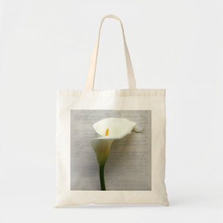 Calla lily on old handwriting tote bags