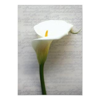 "calla lily on old handwriting invitation 5"" x 7"" invitation card"