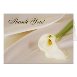 Calla Lily On White Satin, Thank You! Card