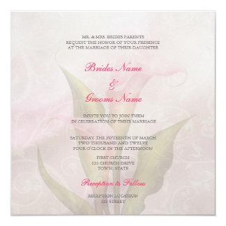 """Calla Lily Pink 2 Wedding Invitation 5.25"""" Square Invitation Card"""
