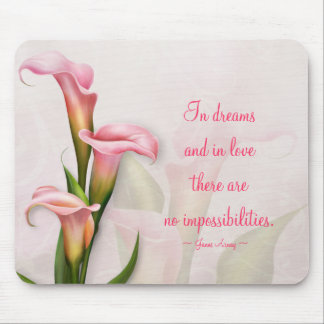 Calla Lily Pink Customizable Quote Mousepad