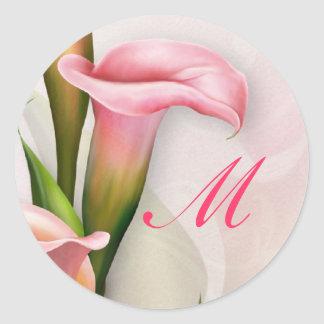 Calla Lily Pink Monogram Envelope Sticker