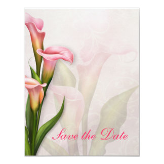Calla Lily Pink Save the Date 11 Cm X 14 Cm Invitation Card