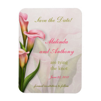 Calla Lily Pink Save the Date Rectangular Photo Magnet