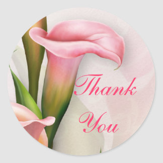 Calla Lily Pink Thank You Sticker