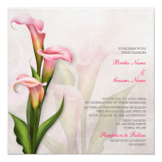 Calla Lily Pink Wedding Invitation