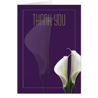 Calla Lily Thank You Note on Purple Greeting Card