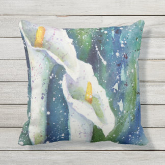 Calla Lily watercolor throw pillow