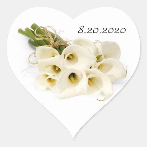Calla Lily Wedding Invitation Envelope Seals Heart Sticker