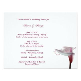 """Calla Lily Wedding Shower Invitation 4.25"""" X 5.5"""" Invitation Card"""