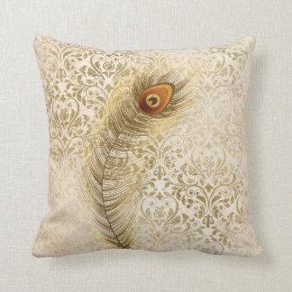 Calla Peacock Feather Gold Damask Vintage Cushion