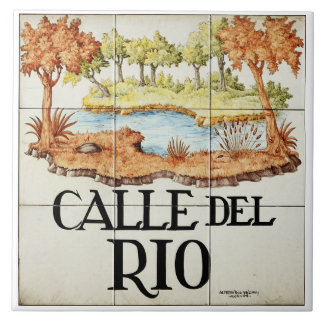 Calle del Rio street sign from Madrid Large Square Tile