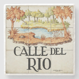 Calle del Rio street sign from Madrid Stone Beverage Coaster