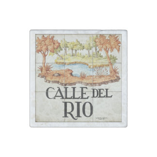 Calle del Rio street sign from Madrid Stone Magnet