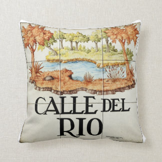 Calle del Rio street sign from Madrid Throw Pillow