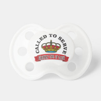 called to serve the heavenly king of glory red baby pacifiers