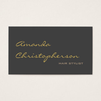 Calligraphic Grey Chic Hair Stylist Business Card
