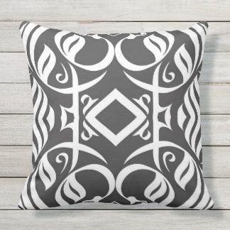 Calligraphic Ourdoor Pillow in Black and White