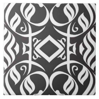 Calligraphic Tile in Balck and White