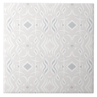 Calligraphic Tile White and Gray