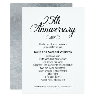 calligraphy 25th Wedding Anniversary Invitation