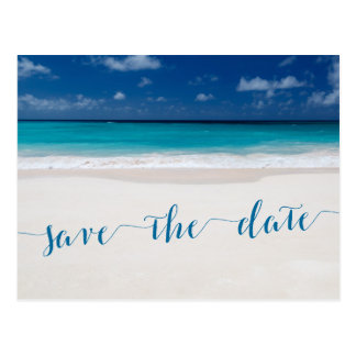 Calligraphy Beach Theme Save The Dates Postcards