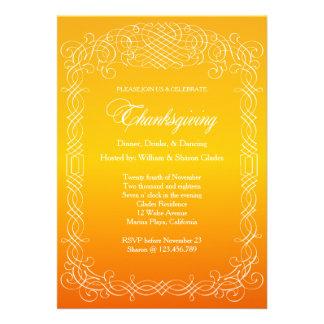 Calligraphy Border Thanksgiving Dinner Celebration Custom Announcement
