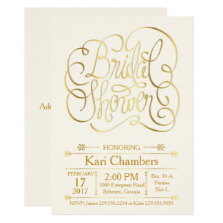 Calligraphy Bridal Shower Invitation - Elegant Gol