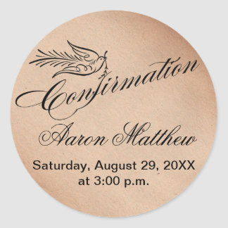 Calligraphy Confirmation and Dove Round Sticker