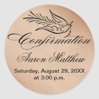 Calligraphy Confirmation Text and Dove Classic Round Sticker