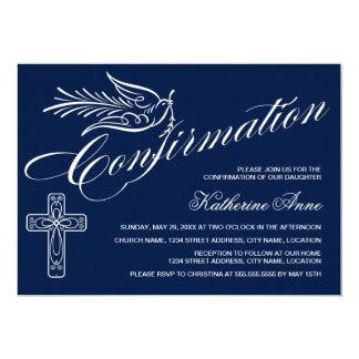 Calligraphy Confirmation with Cross and Dove 13 Cm X 18 Cm Invitation Card