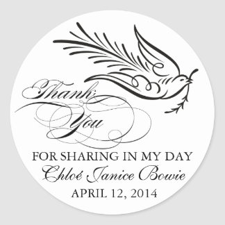 Calligraphy Dove and Thank You Text Round Sticker