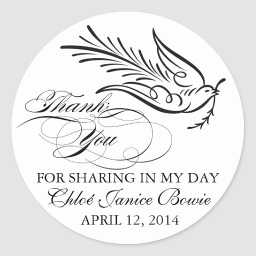 Calligraphy Dove and Thank You Text Sticker