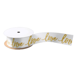calligraphy faux gold foil love satin ribbon