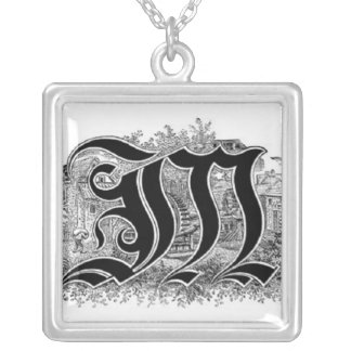 Calligraphy Letter M Necklace