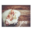 Calligraphy Overlay   Photo Christening Thank You Postcard