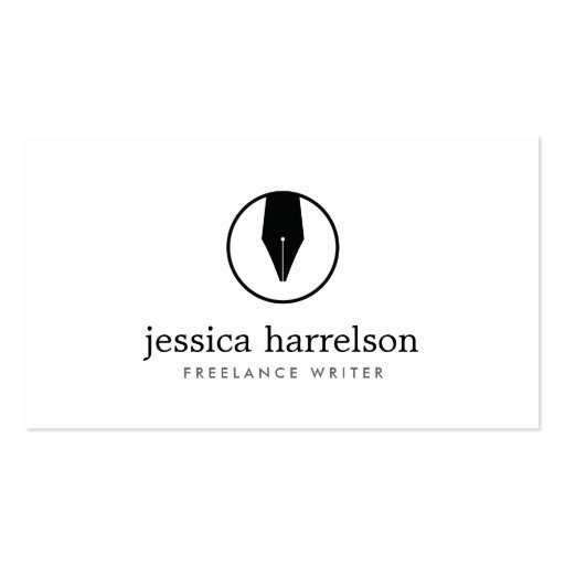 CALLIGRAPHY PEN NIB LOGO I for Authors or Writers Business Card