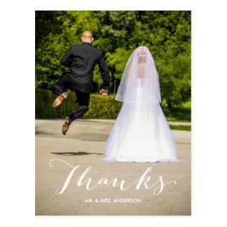 Calligraphy | Photo Wedding Thank You Postcard