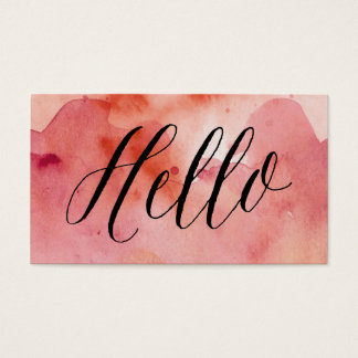 Calligraphy + Pink Watercolor Wash| Business Cards