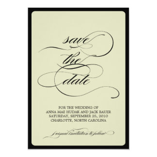 {calligraphy} save the date 13 cm x 18 cm invitation card