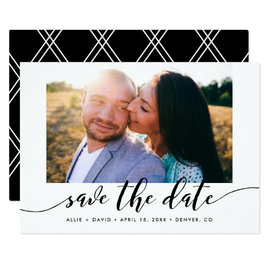 Calligraphy Save The Date Photo Announcement