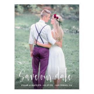 Calligraphy Save the Date Wedding Photo Postcard