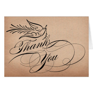 Calligraphy Script Dove Thank You Card