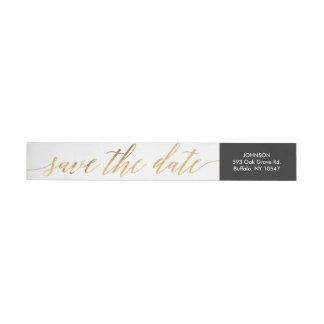 Calligraphy Script Faux Gold Foil Return Address Wrap Around Label