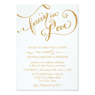 Calligraphy Script Forever in Love Gold Glitter 13 Cm X 18 Cm Invitation Card