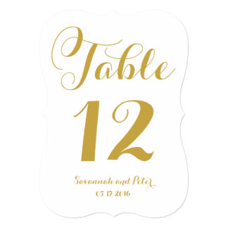 Calligraphy Script Monogram Gold Table Numbers Card