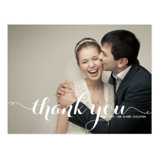 Wedding Gift Thank You Cards: CALLIGRAPHY SCRIPT WEDDING THANK YOU POSTCARD
