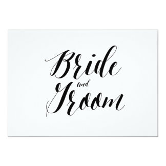 """Calligraphy Style """"Bride and Groom"""" Wedding Sign 13 Cm X 18 Cm Invitation Card"""
