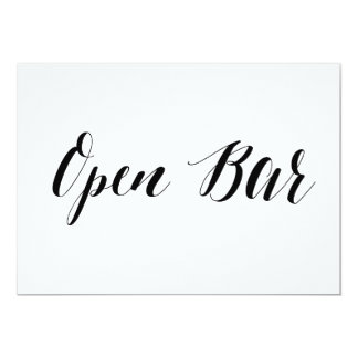 """Calligraphy Style """"Open Bar"""" Wedding Sign Card"""